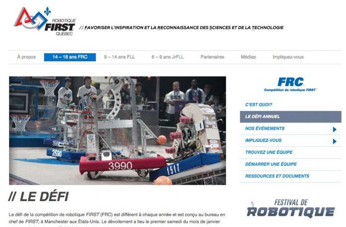 Site Web Robotique FIRST Québec