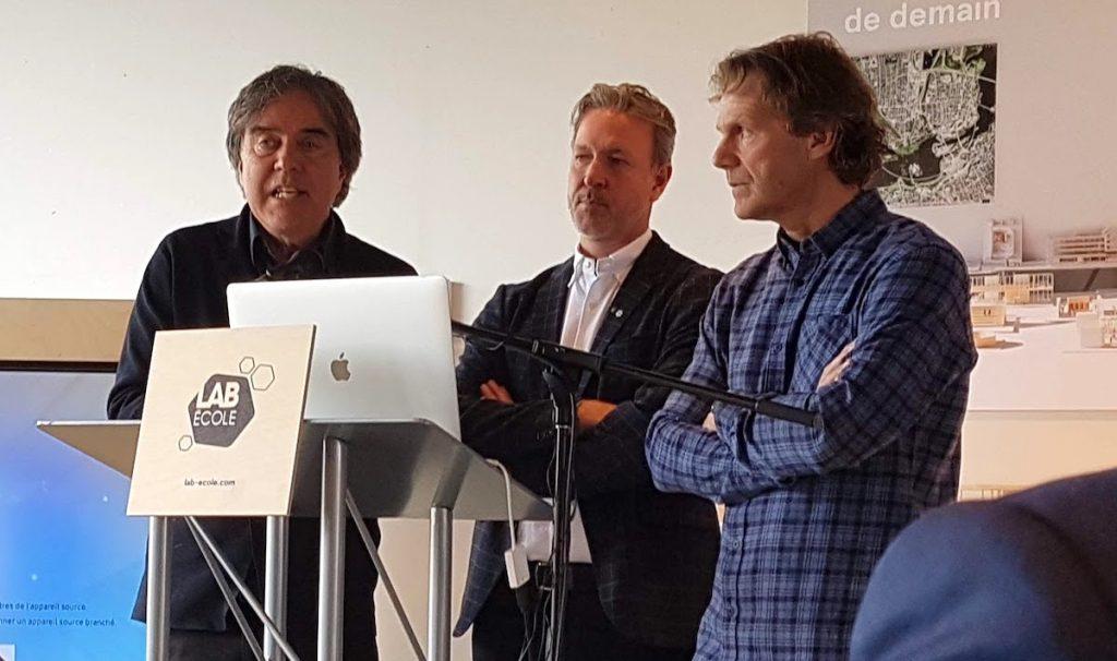 Pierre Thibault, Ricardo Larrivée et Pierre Lavoie, cofondateurs et ambassadeurs du Lab École